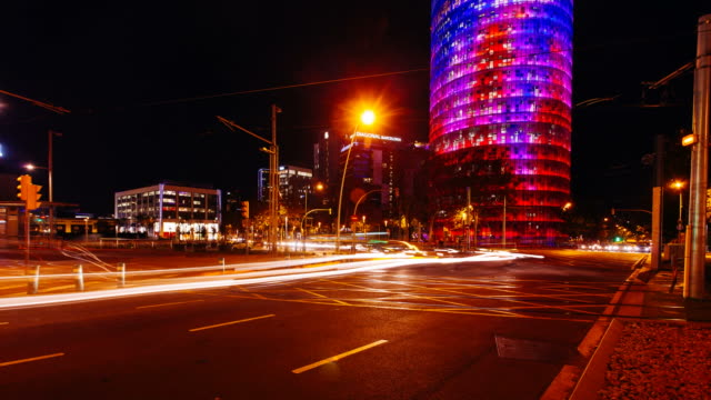 barcelona traffic lights at night. - street name sign stock videos & royalty-free footage