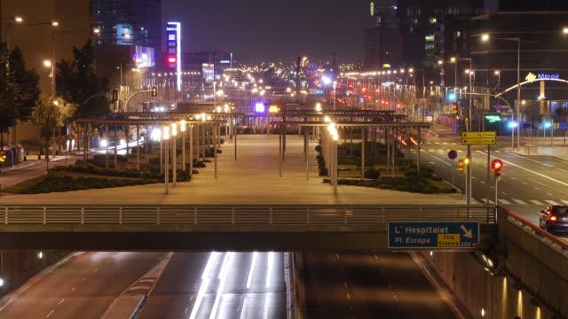 L/S Barcelona, traffic trails and bridge in Les Corts-Hospitalet road, night