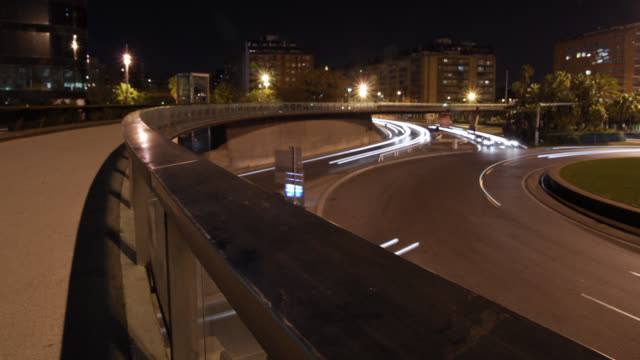 W/S Barcelona, traffic trails from a bridge, night
