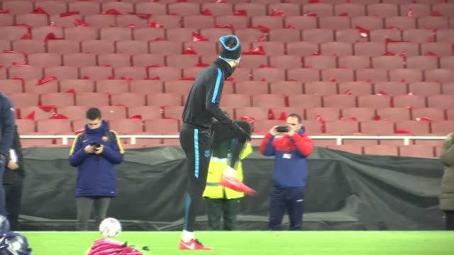 London Emirates Stadium EXT General views of Barcelona training session including Luis Suarez Neymar Lionel Messi Gerard Pique Javier Mascherano and...