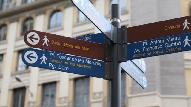 barcelona - road sign stock videos & royalty-free footage