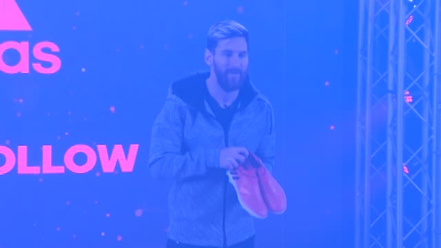 barcelona's argentinian forward lionel 'leo' messi attends the presentation of the new messi 16 boots by adidas - adidas stock videos & royalty-free footage