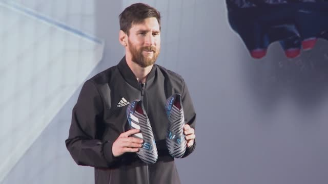 barcelona's argentinian forward lionel 'leo' messi presents his new nemesis messi boots by adidas at palau sant jordi in barcelona on january 26 2018... - lionel messi stock videos and b-roll footage