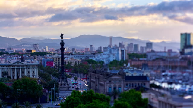 barcelona's cityscape from montjuïc mountain - colon stock videos and b-roll footage