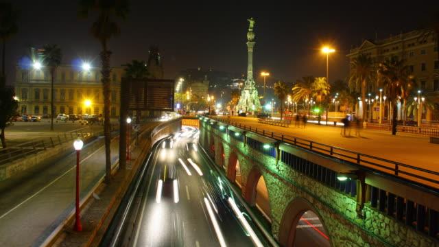 バルセロナのコロン像タイムラプス 4 k - クリストファー コロンブス点の映像素材/bロール