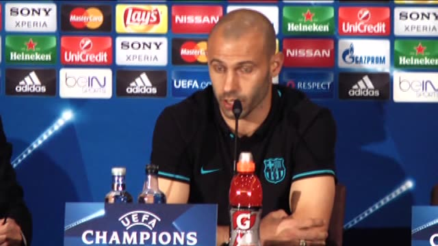 Barcelona's midfielder Javier Mascherano and head coach Luis Enrique attend a press conference at Vicente Calderon stadium in Madrid Spain on April...