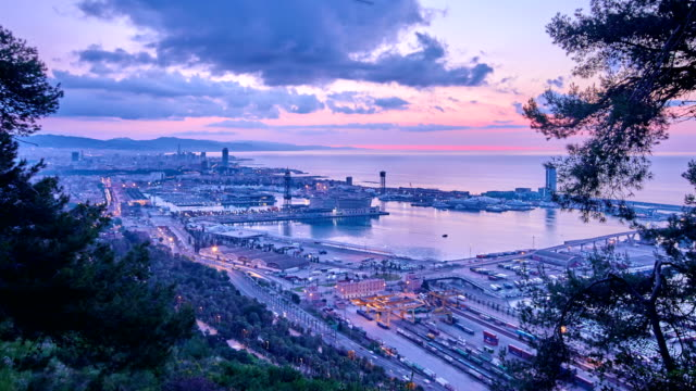 Barcelona's port view from the mountain