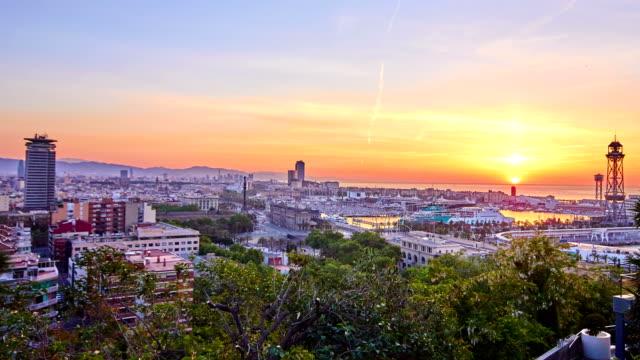 Barcelona's sunrise een heldere dag