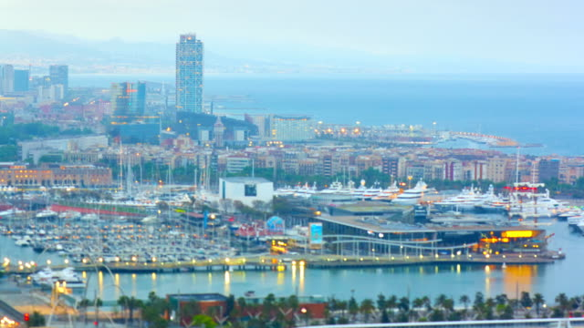 barcelona's sunrise a cloudy day - mediterranean sea stock videos & royalty-free footage