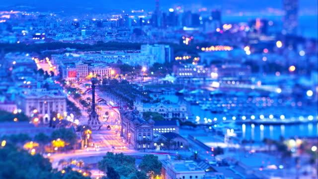 vídeos de stock e filmes b-roll de barcelona's sunrise - porto de barcelona