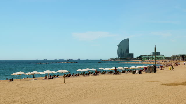 barceloneta beach, barcelona, spain - barcelona spain stock videos & royalty-free footage