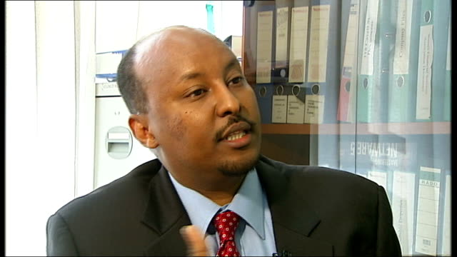 barclays bank urged to suspend decision to shut down somali cash transfer accounts; england: london: abdirashid duale interview sot - horn of africa stock videos & royalty-free footage