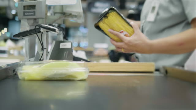 barcode scanner at shopping cash register - receipt stock videos & royalty-free footage