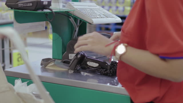 barcode scanner for cash registers - supermarket - convenience stock videos & royalty-free footage