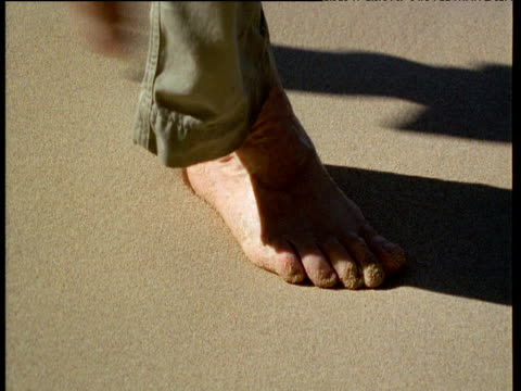 Bare foot makes print in wet sand, wave washes it away