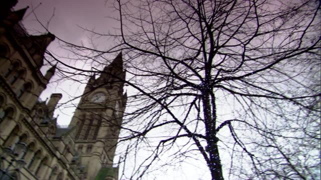 vídeos y material grabado en eventos de stock de bare tree limbs in albert square to arndale town hall & tower , victorian gothic revival architecture. - bare tree