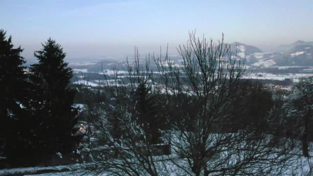 bare trees in snow covered mountain landscape at sunset - albero spoglio video stock e b–roll