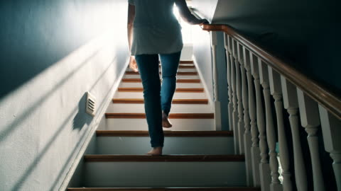 barefoot woman going up a staircase - staircase stock videos & royalty-free footage