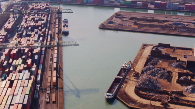 barge loading in the port of dortmund - aerial view - barge stock videos & royalty-free footage