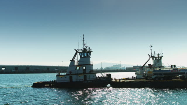 Barge Moving through Port