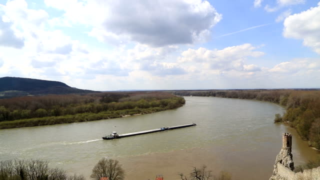 barge on a river - barge stock videos & royalty-free footage