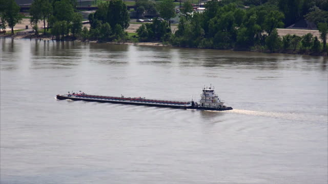 Barge on the Mississippi River in Baton Rouge, Louisiana, aerial