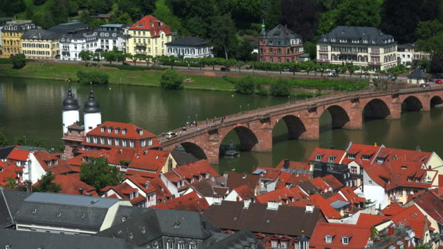 barge passing old bridge over neckar river - neckar river stock videos & royalty-free footage