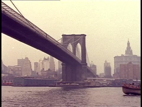 1940 ws barge passing under brooklyn bridge / new york city, new york, usa - brooklyn bridge stock videos & royalty-free footage
