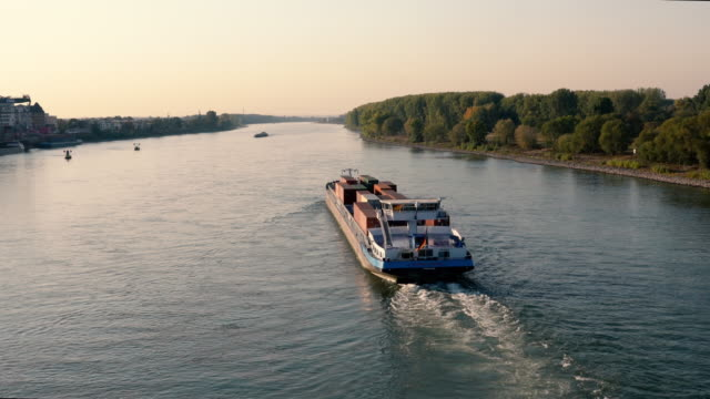 barge transports shipping on rhine river - barge stock videos & royalty-free footage