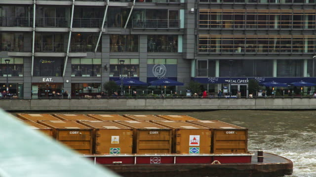 ms barge with cargo containers on river thames / london, england, united kingdom - river thames stock videos & royalty-free footage