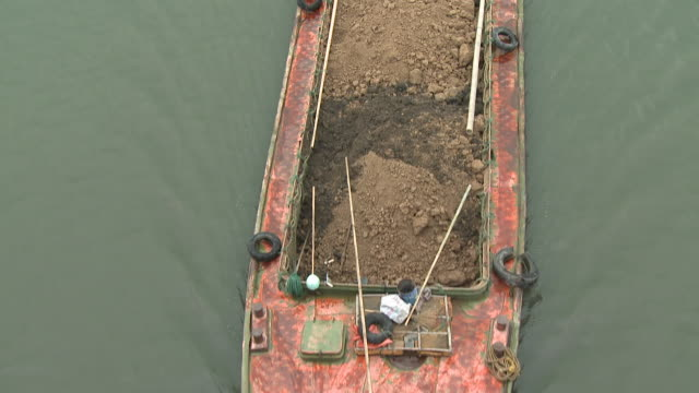 MS HA Barge with soil on river, Shanghai, China