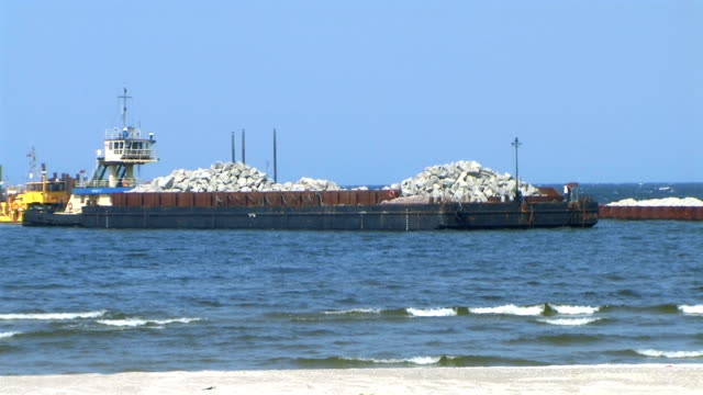 barge with stones - tugboat stock videos and b-roll footage