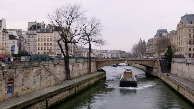 barges along the seine - river seine stock videos & royalty-free footage