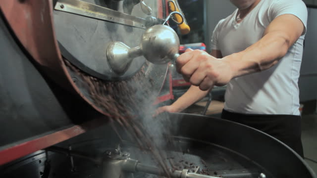 barista grinding coffee in coffee grinder - mittlerer teil stock-videos und b-roll-filmmaterial