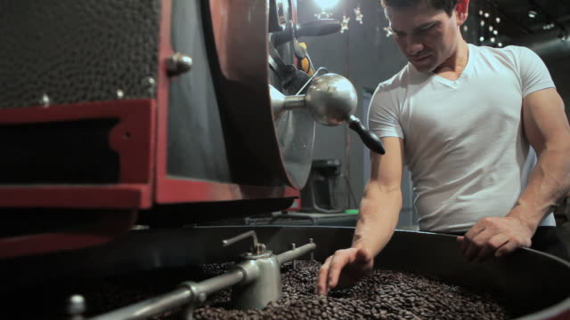 Barista grinding coffee in coffee grinder