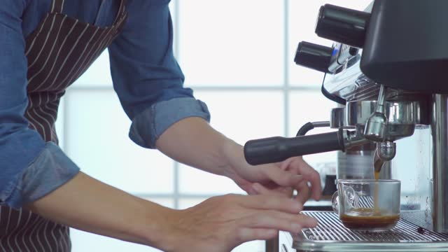 barista making a latte. - barista stock videos & royalty-free footage