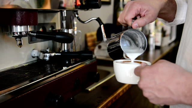 barista preparing coffee - cafeteria worker stock videos and b-roll footage