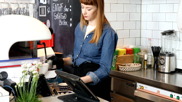 barista serving burger and coffee to customer - barista stock videos and b-roll footage