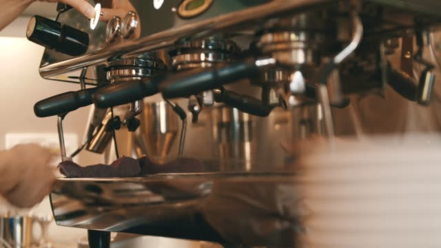 barista steaming coffee in cap - canteen stock videos & royalty-free footage