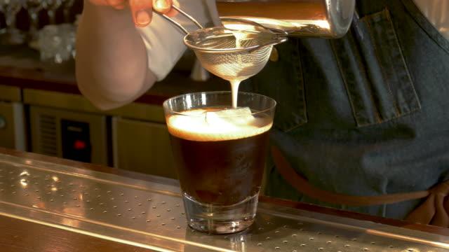 cu barman making a coffee drink, taipei, taiwan - coffee drink stock videos & royalty-free footage