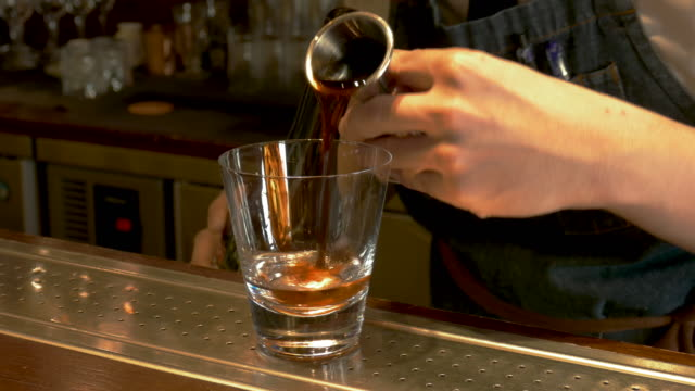 cu barman making a coffee drink, taipei, taiwan - coffee drink stock videos & royalty-free footage