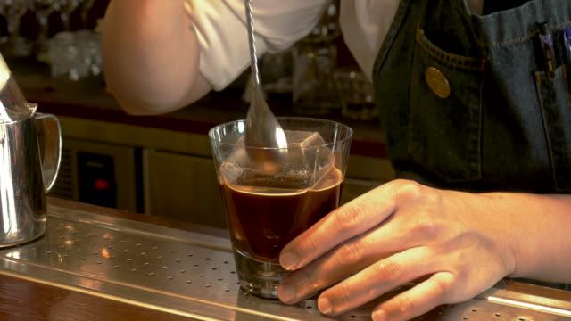 cu barman making coffee drink, taipei, taiwan - coffee drink stock videos & royalty-free footage