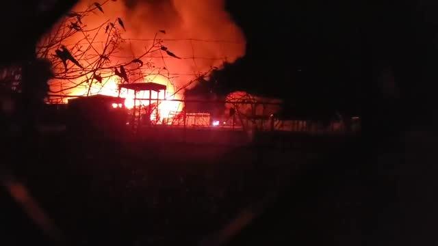stockvideo's en b-roll-footage met barn fire at the https://www.facebook.com/africansafariwildlifepark/?ref=br_rs african safari wildlife park in port clinton, ohio, on november 28... - https