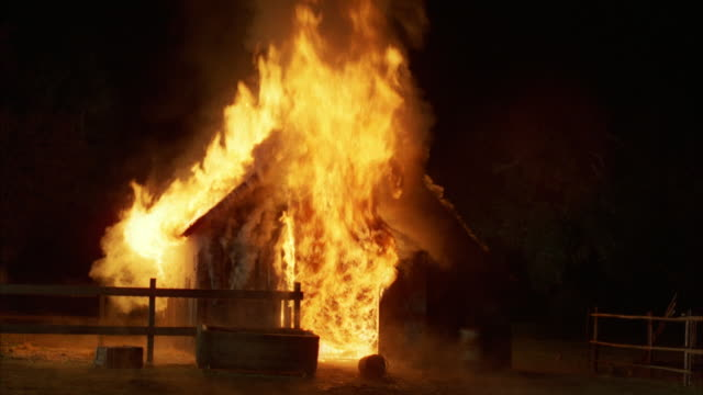 ms barn fully engulfed in flames / unspecified - barn stock videos & royalty-free footage