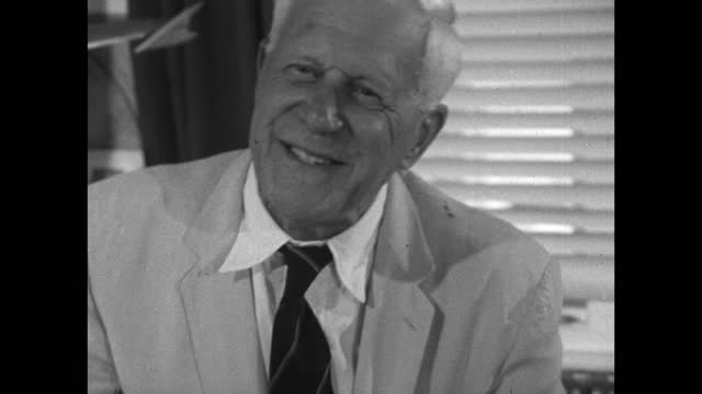 barnes wallis explains his fears of actually being asked to prove his theories and produce the bouncing dam buster bomb; 1967. - information equipment stock videos & royalty-free footage