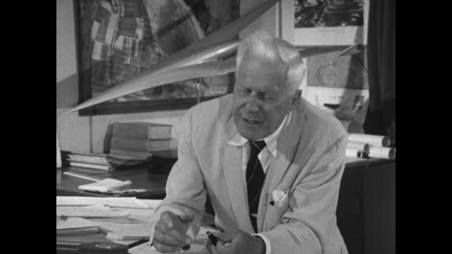 barnes wallis explains how he felt 'misery' at putting test pilot's in danger to prove whether his bouncing bomb theory would work; 1967. - medium shot stock videos & royalty-free footage