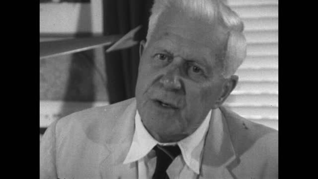 barnes wallis explains how he had the idea for a 'hopping' bomb; 1967. - medium shot stock videos & royalty-free footage