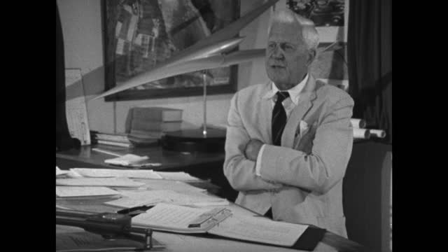 barnes wallis explains how he took his idea to the usa as part of the mutual weapons development program only for it to be taken by the us; 1967. - medium shot stock videos & royalty-free footage