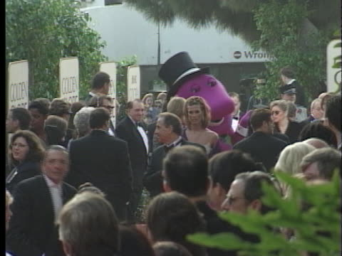 barney at the golden globes 98 at beverly hilton hotel, beverly hills in beverly hills, ca. - the beverly hilton hotel stock videos & royalty-free footage