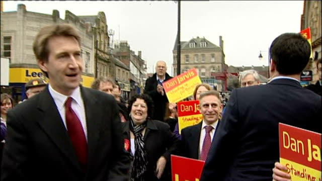 labour victory liberal democrats in sixth place england south yorkshire barnsley ed miliband mp and dan jarvis mp applauded by labour supporters as... - south yorkshire stock videos and b-roll footage
